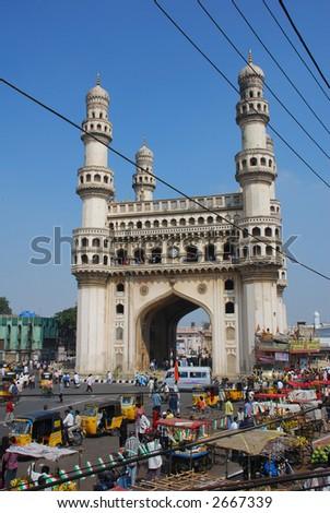 Charminar, hyderabad's principal landmark, built in 1591 AD - stock photo