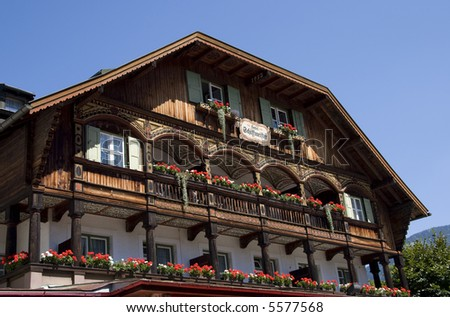 Charming Alpine Hotel in Germany - stock photo