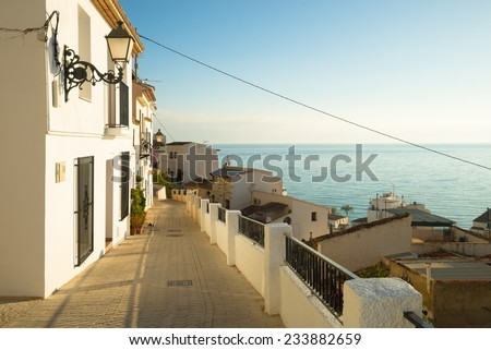 Charming  Altea old town  street,  Costa Blanca, Spain - stock photo