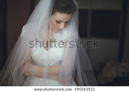 charming and beautiful bride before the wedding ceremony