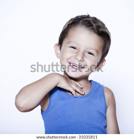 charming and expressive child portrait studio isolated backgroun - stock photo