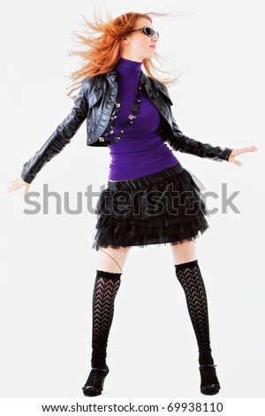 Charming appearance of young girl with black accessories