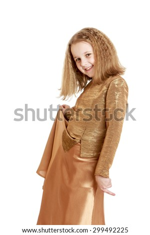 Charming blonde girl with beautiful hairstyle in a trendy satin long suit , close-up-Isolated on white background - stock photo