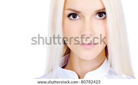 Charming blonde, isolated on white background. - stock photo