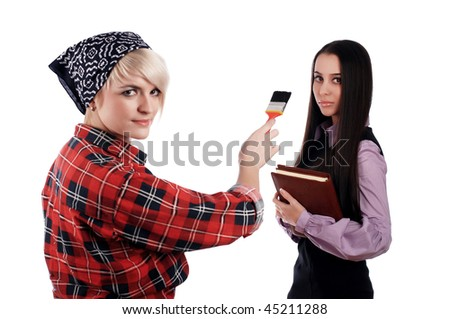 charming blonde painter in a red shirt and blue scarf and business woman - stock photo