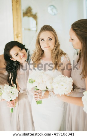 charming bride and her bridesmaid preparing for ceremony - stock photo