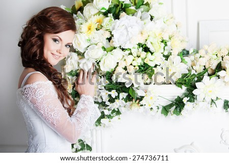 Charming bride. Wedding dress. Decoration - stock photo
