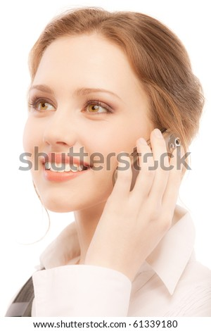 Charming business woman speaks on phone, isolated on white background. - stock photo