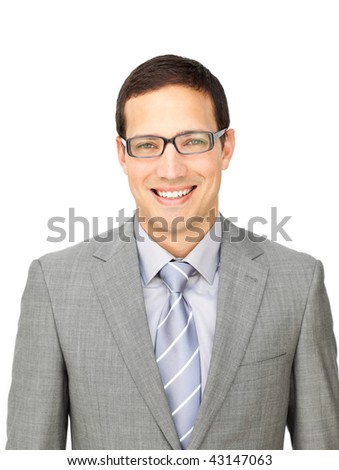 Charming businessman wearing glasses isolated on a white background