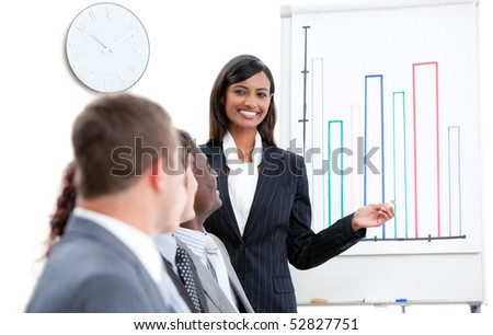 Charming businesswoman pointing at a white board while doing a presentation - stock photo