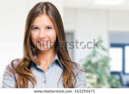 Charming businesswoman portrait - stock photo