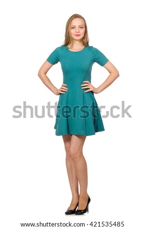 Charming caucasian woman wearing green dress isolated on white - stock photo