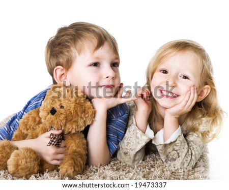 Charming couple of children - stock photo