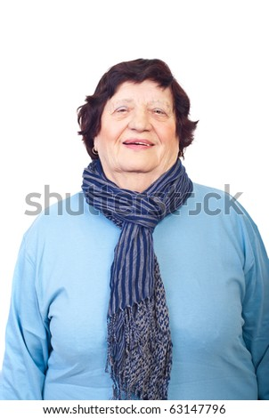Charming elderly woman portrait isolated on white background - stock photo