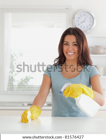Charming female doing the housework while using a spray in the kitchen - stock photo