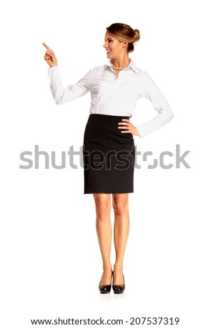 Charming flight stewardess showing various gesture  on white