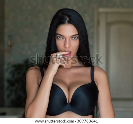 charming girl at home - stock photo