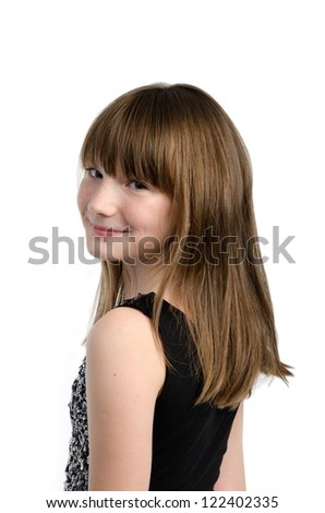 Charming girl close-up portrait, isolated - stock photo