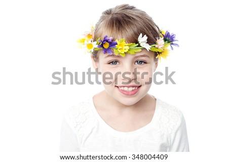 Charming girl kid wearing flower crown - stock photo