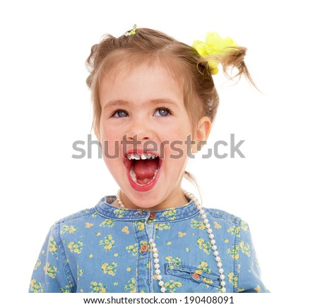 Charming girl screams on a white background - stock photo