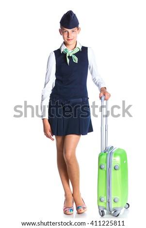 Charming Girl Stewardess Dressed In Blue Uniform On White Background - stock photo