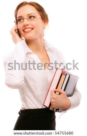 Charming girl-student speaks  by phone, isolated on white background. - stock photo