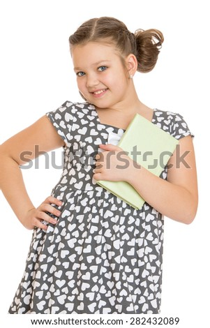 Charming girl with a book in hand- isolated on white background - stock photo
