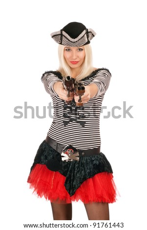 Charming girl with guns dressed as pirates - stock photo