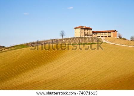 Charming Italian villa in Monferrato area (Piemonte region, north Italy) during spring season - stock photo