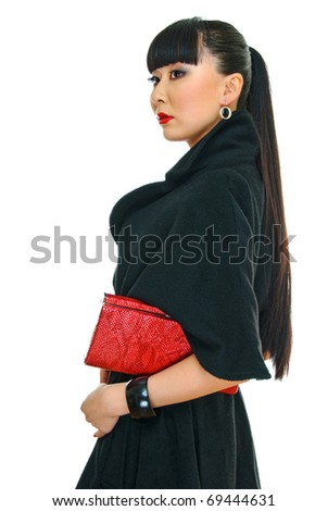 charming korean girl with purse in hand