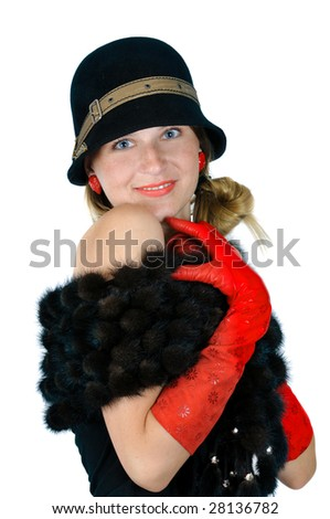 Charming lady in fur and red, isolated on white - stock photo