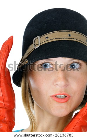 Charming lady in hat and red gloves, isolated on white - stock photo