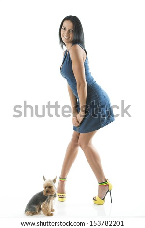 Charming lady with dog - stock photo