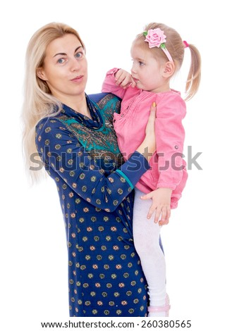 charming little daughter at the hands of his beloved mother - isolated on white. - stock photo