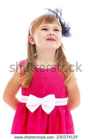 Charming little girl gesturing. Happy childhood, fashion, autumnal mood concept. Isolated on white background - stock photo