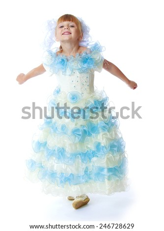 Charming little princess in a long dress.Isolated on white background - stock photo