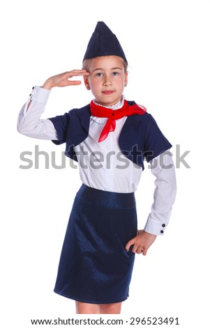 Charming Little Stewardess Dressed In Blue Uniform. Isolated On White Background