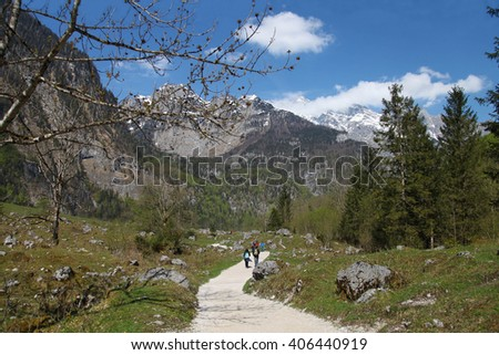 Charming mountain road, Alps, Germany, Europe - stock photo