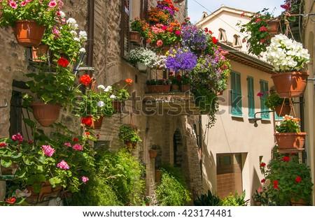 Charming narrow street in an old Italian town of Spello. Umbria, Italy.  - stock photo