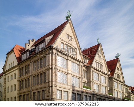 Charming old houses with tiled roofs in Munich, Germany. - stock photo