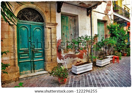 charming old streets of Greece - stock photo