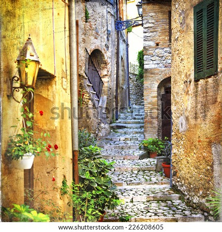 charming old streets of mediterranean - stock photo