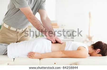 Charming Patient getting an accupressur in a room