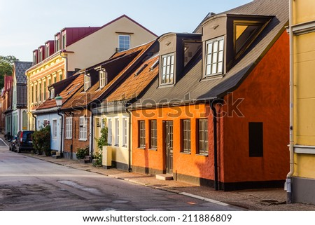 Charming small houses in Ystad, Scania region, Sweden. - stock photo