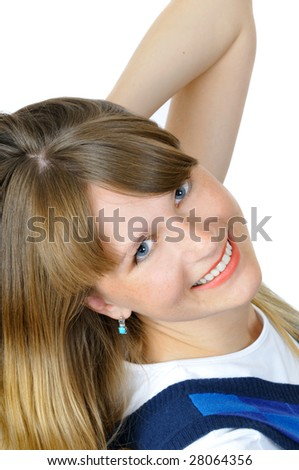 Charming smiling young girl, isolated on white - stock photo