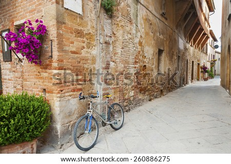 charming street in old town Pienza of Tuscany, Italy - stock photo