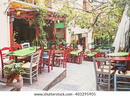 Charming street in the old district of Plaka in Athens, Greece - stock photo