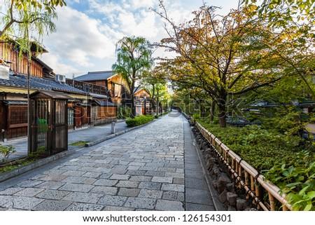 Charming street on my way to Gion, Kyoto, Japan - stock photo