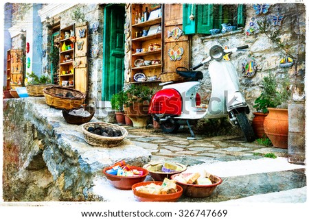 charming traditional shops of Greece - artistic picture - stock photo