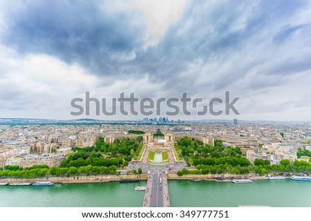 Charming view of Trocadero and Palais de Chaillot in Paris, France - stock photo